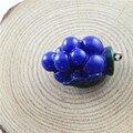 5 unids Resina Vegetal Uvas de Color Azul Estilo de Joyas Colgantes Encantos Finding Fabricación De Joyas Llavero Accessary 30*18*18mm