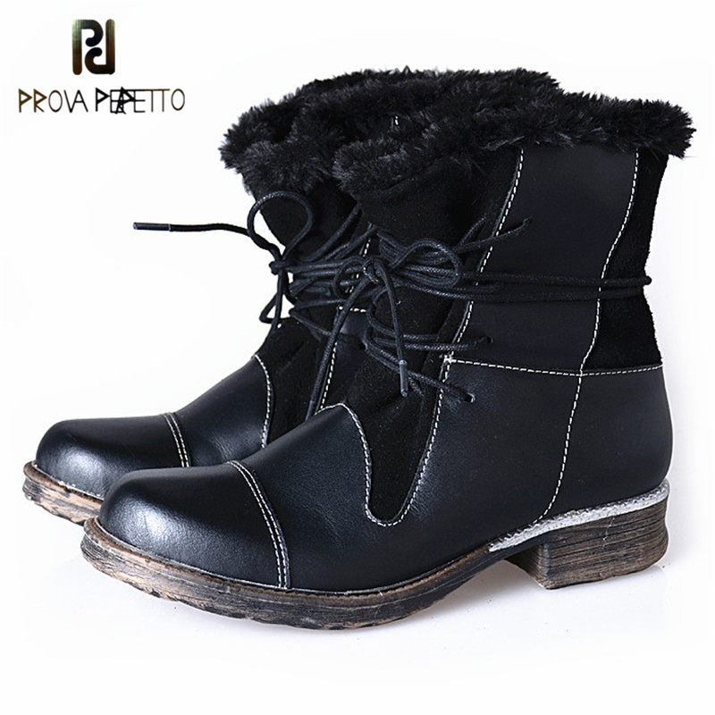 Здесь продается  Prova Perfetto Winter New Style Square Toe Ankle Boots Women Handsome Low Heels Boot Cross Tied Snow With Plush In Shoes Warm  Обувь