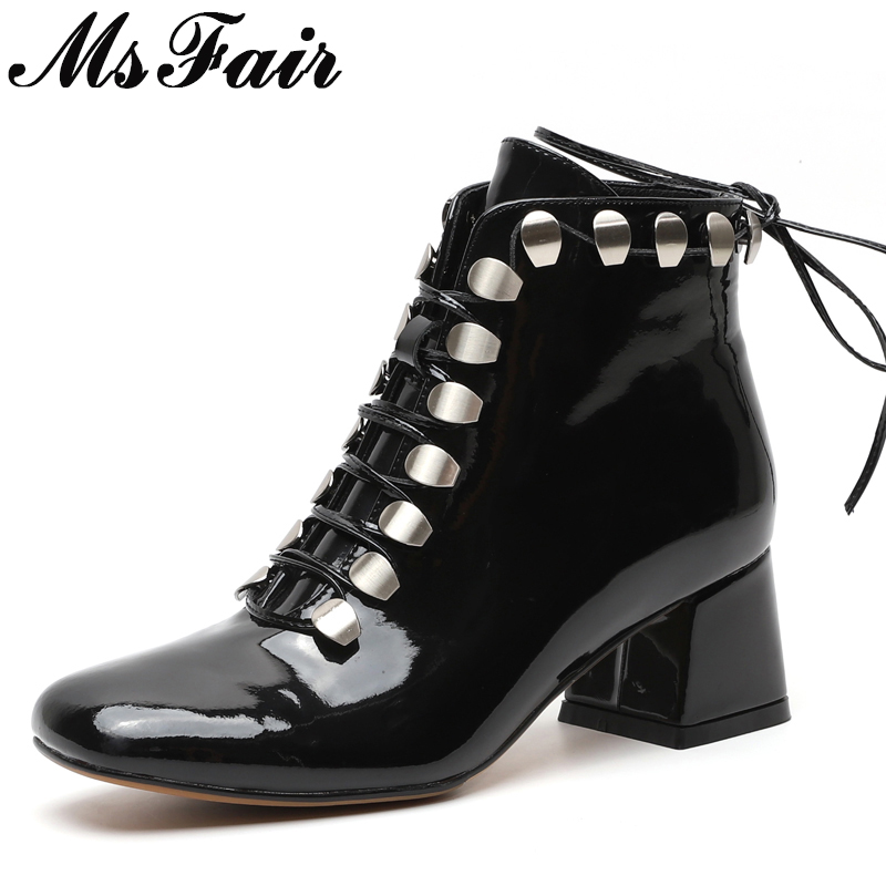 MSFAIR Women Boots Fashion Square Toe High Heel Ankle Boots Women Shoes Square heel Metal Boot Shoes For Girl Brand Boots Woman msfair women boots 2018 hot selling crystal ankle boots women shoes pointed toe high heel boot shoes square heel boots for girl