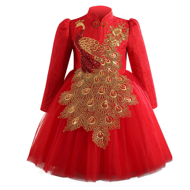 e669041bcf70e US $130.0 |Girls Embroidered Peacock Dress Wedding Red Color Vintage China  Style Princess Holiday Party Dress Children Long Sleeve Clothes-in Dresses  ...