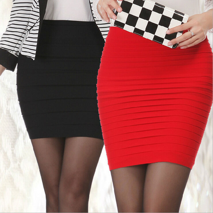 Women Sexy Pleated Seamless Stretch Tight Sexy Bodycon Mini Skirt Short Pencil High Waist Elastic Summer TuTu Mini Bandage