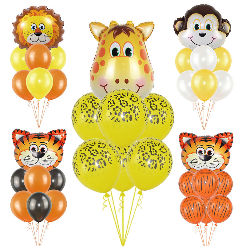 Image 2 - 1Set Foil Jungle Animal Balloons Tiger Lion Monkey Zebra Giraffe Elephant Baby Shower Children Happy Birthday Party Decoration-in Ballons & Accessories from Home & Garden