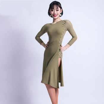 Fashion Cross Strap O-neck Placketing Sexy Latin Dance One-piece Dresses for Women female Ballroom Costumes Flamengo wears M3218 - DISCOUNT ITEM  30% OFF All Category