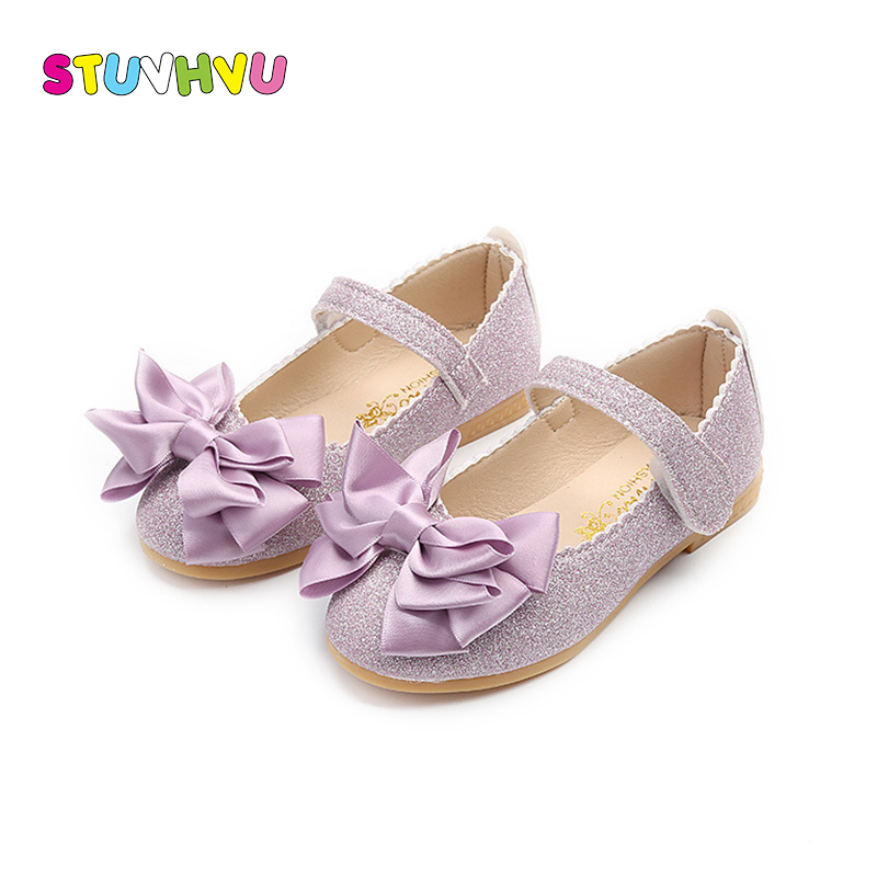 Girls Shoes Princess Kids Sequin Leather Shoes Spring Autumn Fashion Bow Soft Bottom Non-slip Girl Flat Casual Shoes Size 21-30