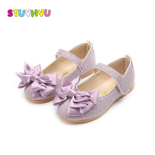 Girls shoes princess kids sequin leather shoes spring autumn fashion bow soft bottom non-slip girl flat casual shoes size 21-30 недорого