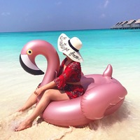 Giant Inflatable Flamingo Pool Party Float Swimming Circle Durable Vinyl and Faster Inflation Swim Ring Decorations Toys