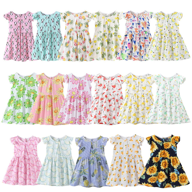 summer Baby Girls Toddlers A-Line Dress Girls Kids One-pieces Dress Clothes infant Flower Cartoon print cute clothing for girl
