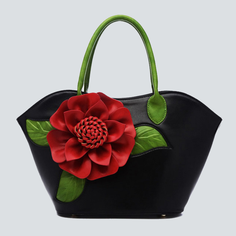 Women Applique Bag 2017 3D Flowers Hand Shoulder Bags PU leather Female Handbags Totes Sac a Main Quality Large Capacity Bolsas
