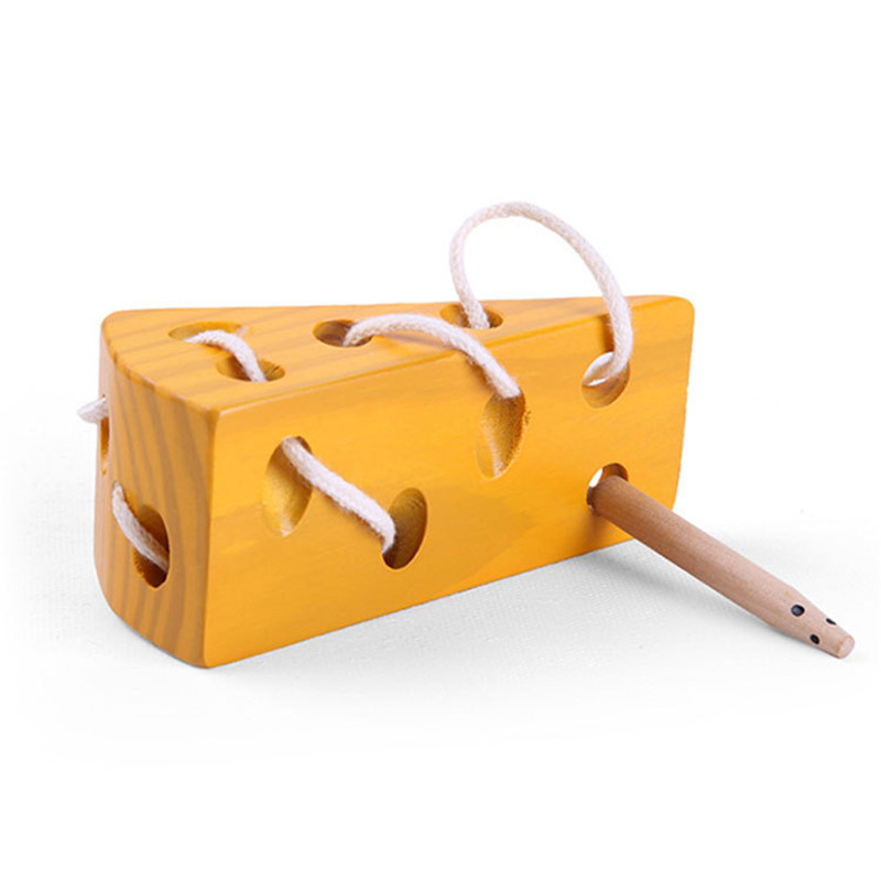 New Wooden Baby Toys Baby Wearing Thread Cheese Toy Baby Educational Toys