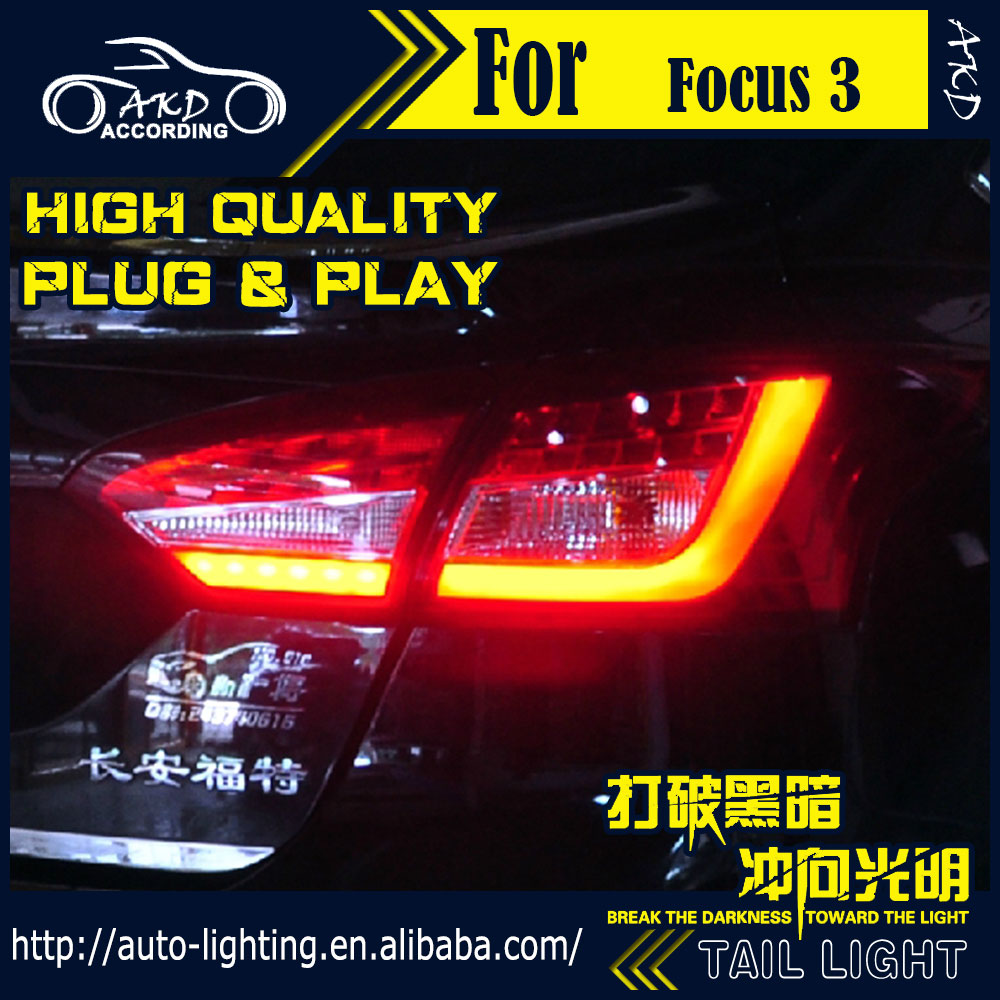 AKD Car Styling Tail Lamp for Ford Focus Sedan Tail Lights Benz-Style LED Tail Light Signal LED DRL Stop Rear Lamp Accessories high quality chrome tail light cover for ford focus mk3 sedan 12 13 free shipping