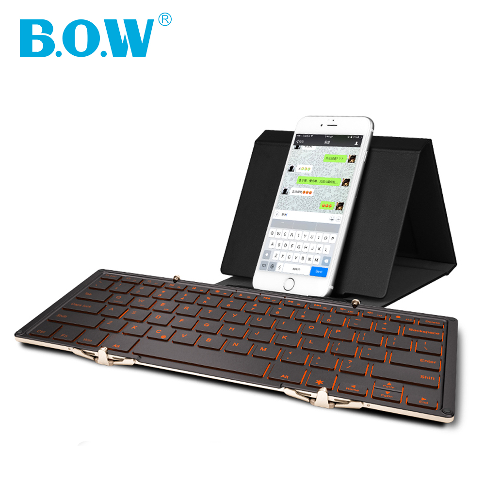 B.O.W Wireless Foldable keyboard with 3-Color Backlight, Full size Tri-folding bluetooth keyboard for Tablets,Smartphones,PC