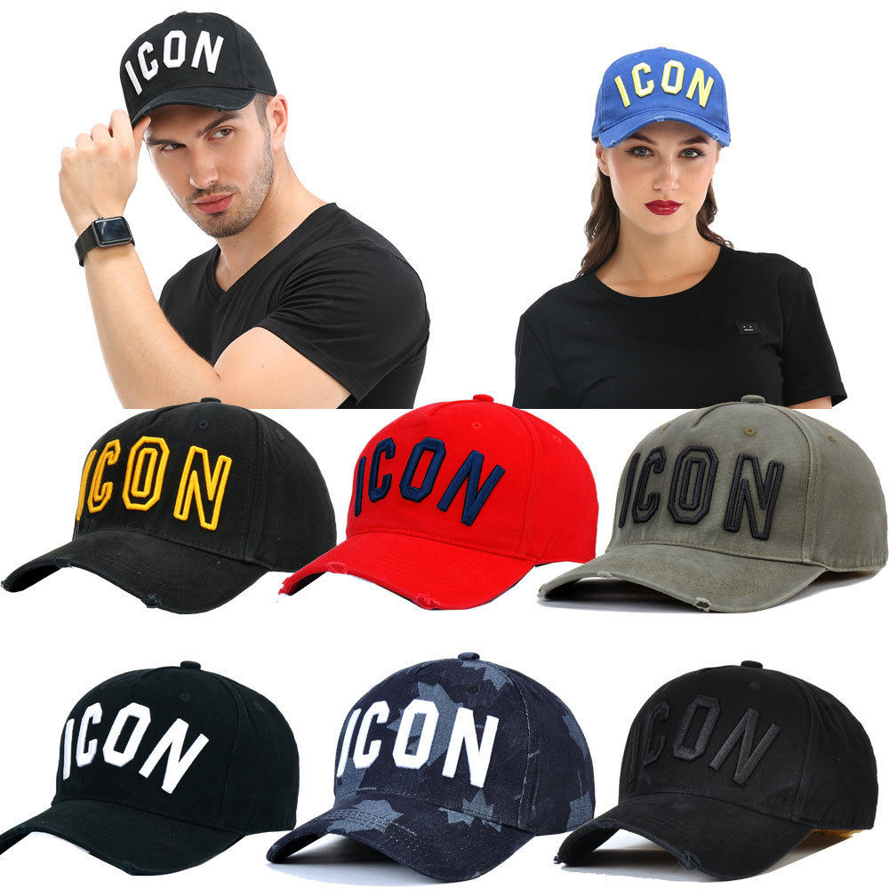 DSQICOND2 Brand ICON Letter Cotton Summer Mens   Baseball     Cap   Women Snapback Hat Solid Dad Hat Cotton Bone Trucker   Cap