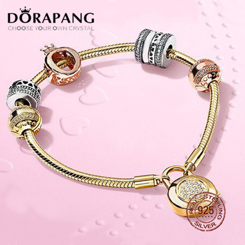 DORAPANG 2018 New Hot Sale 925 sterling silver Bracelet For In Love Gift Set For Women Gold Bracelet Charm DIY Letter Jewelry chic letter heart pattern decorated bracelet for women