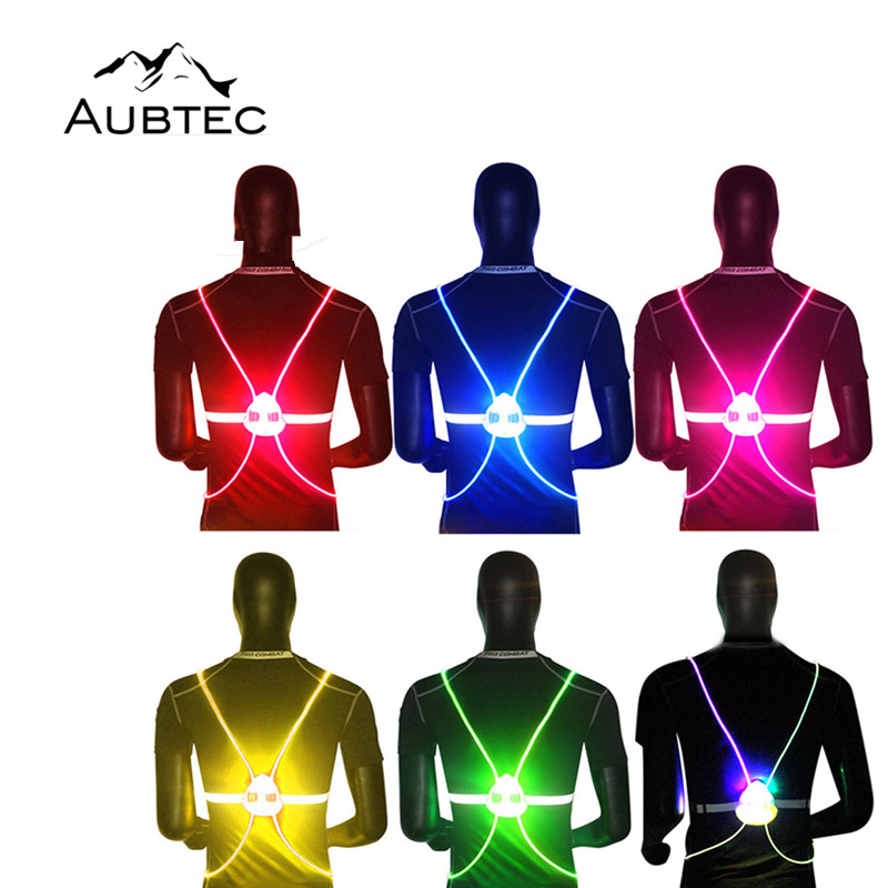 LED Bike Light Vest For Outdoor Sports Cycling Fishing Safety Protective Vests Bike Bicycle Light Night Riding Running Jogging