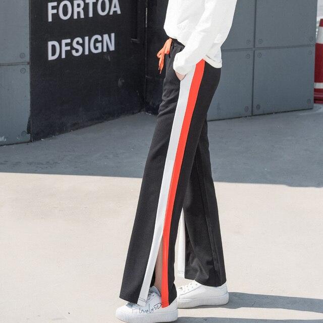 2017 Plus Size Women Pants Casual Style Side Stripe Wide