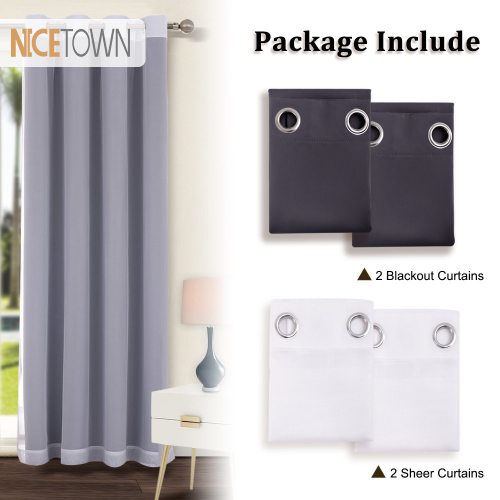 1 Pair Modern Style Blackout Curtains and Voile Sheer Curtains Cortinas with Eyelets for Kids Room Living Room Windows1 Pair Modern Style Blackout Curtains and Voile Sheer Curtains Cortinas with Eyelets for Kids Room Living Room Windows