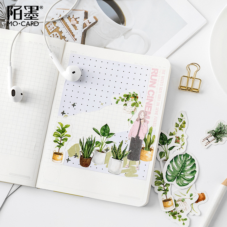 45 Pcs/pack Green Potted Plant Decorative Washi Stickers Scrapbooking Stick Label Diary Stationery Album Stickers 4