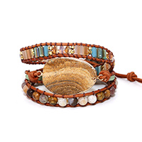 New Unique Mixed Natural Stones Charm 5 Strands Wrap Bracelets for women Handmade Boho Bracelet Leather Bracelet gift jewelry