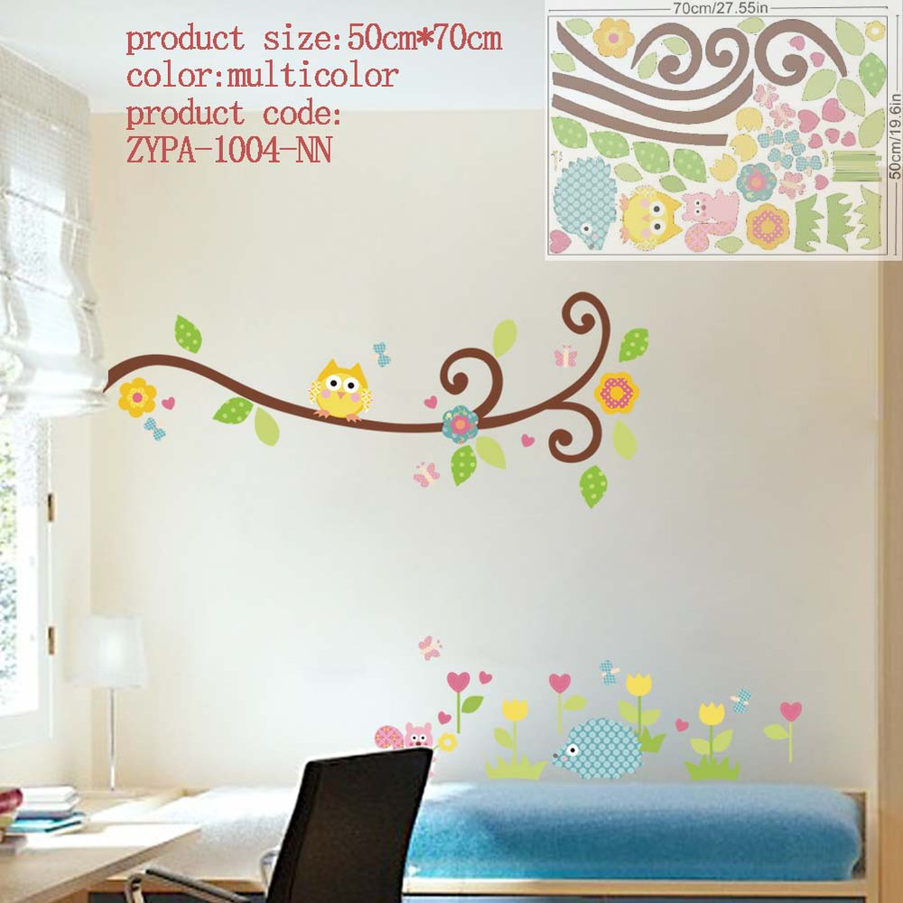 Owl wall stickers for kids room decorations animal decals bedroom please select color amipublicfo Image collections