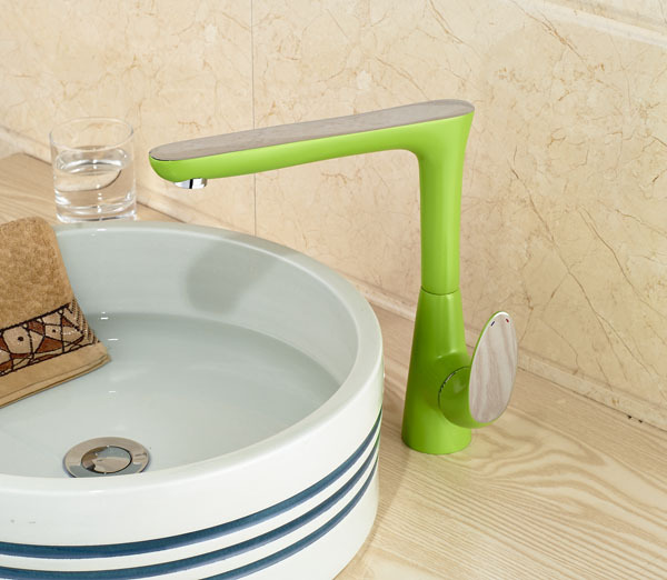 Unique Green Color Countertop Barhtoom Sink Faucet Single Lever Basin Mixer Faucet Faucet Taps unique single top lever waterfall basin mixer faucet gold color basin sink taps