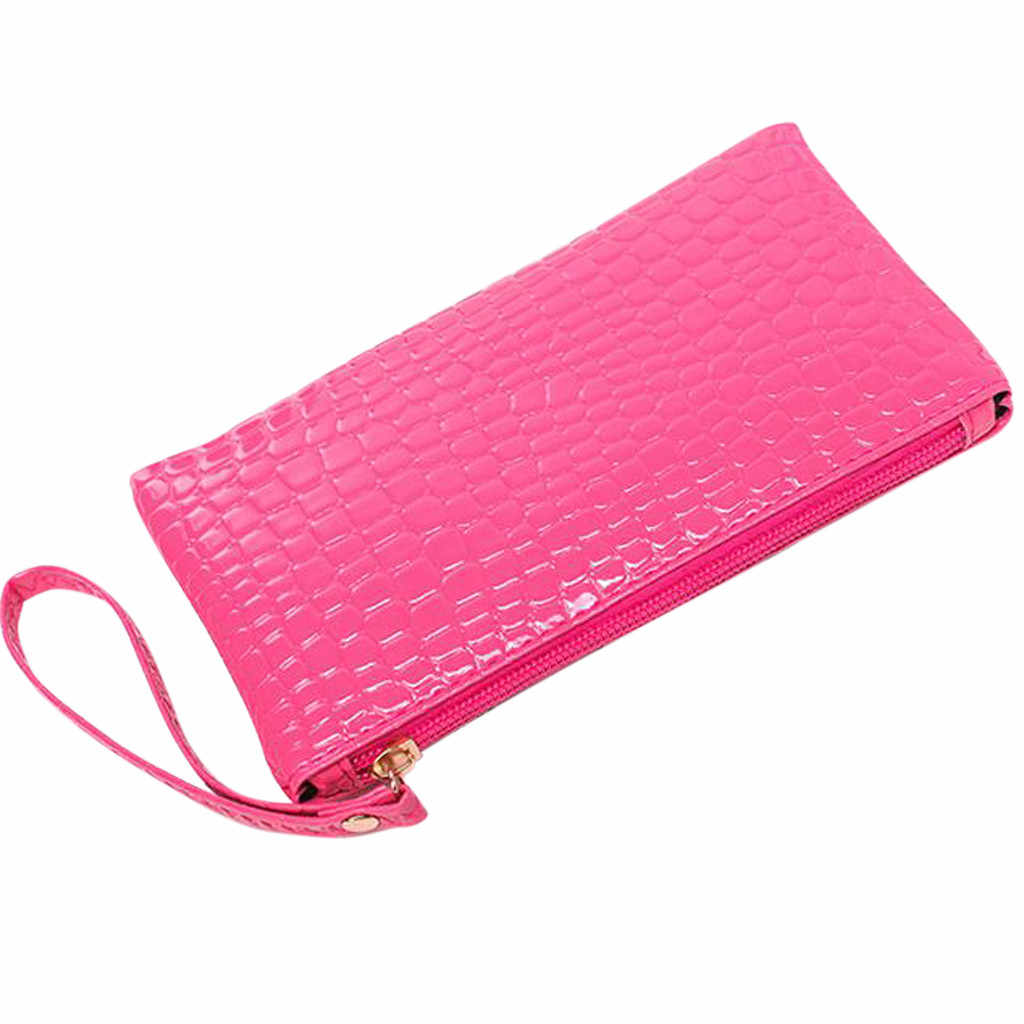 Maioumy bolso de cuero con cremallera para mujer bolso de monedas Girks LadY cocodrilo bolso de mano cartera 18cm de largo monedero bolsa de teléfono