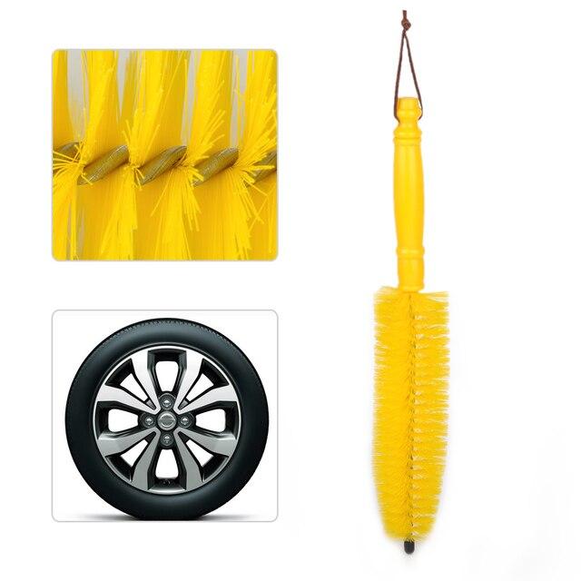 Beler – roue jaune pour pneus, 1 pièce, moyeu de jante, brosse longue, poignée de lavage, outil de lavage pour voiture, véhicule, moto