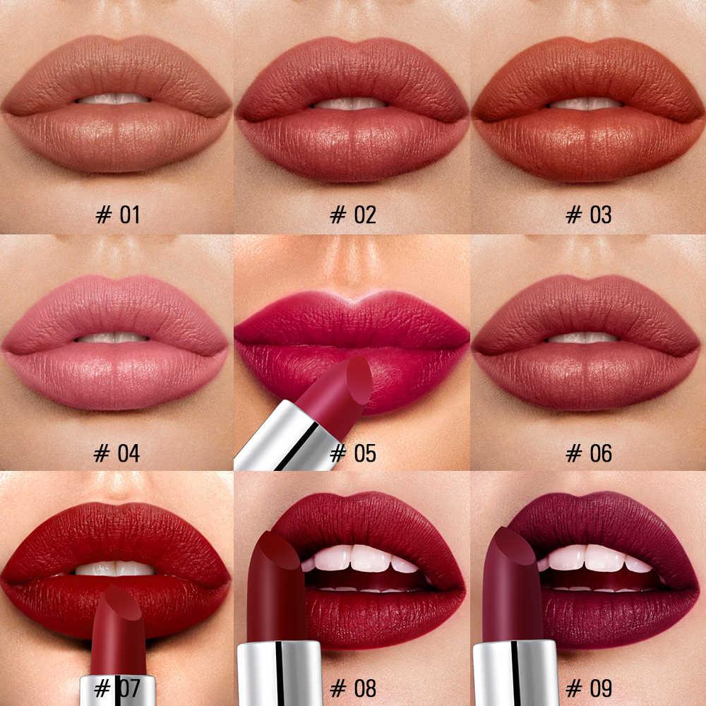 SACE LADY Silky Matte Lipstick แต่งหน้ากันน้ำ 9 สี Pigmented Lip Stick ยาวนานริมฝีปาก Make Up Nude Beauty เครื่องสำอาง