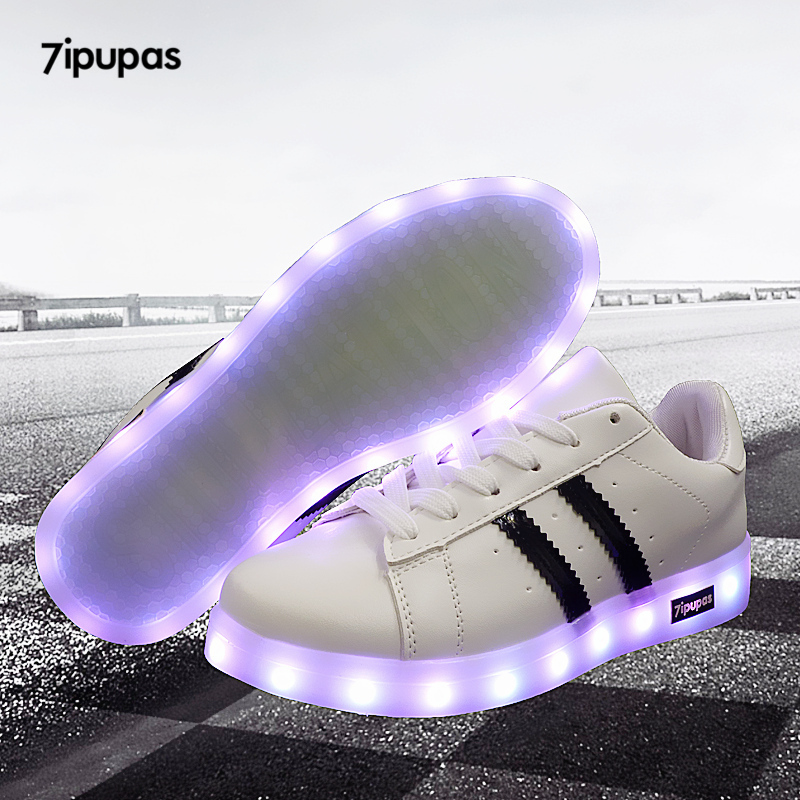 7ipupas 11 Colors Unisex Led Shoes Fashion Couple Led Luminous Sneakers Zapatos Hombre Led Light Shoe Kids Boy Girl Glowing Shoe