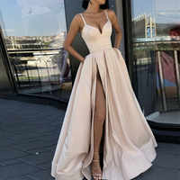 Custom Made A LineEvening Dress with High Slit Satin Royal Blue Spaghetti Straps Sweetheart Long Evening Gown 2019