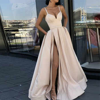 Custom Made Evening Dress with High Slit Satin  Royal Blue Spaghetti Straps Sweetheart Long Evening Gown 2019 - DISCOUNT ITEM  35% OFF All Category