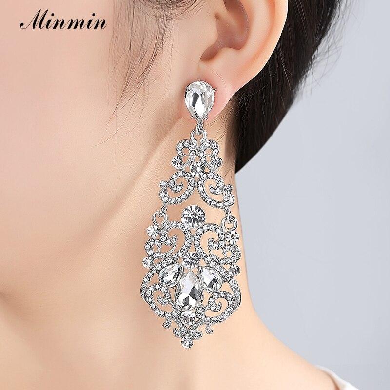 Minmin Fashion Large Floral Sølv Farge Teardrop Crystal Lang Drop - Mote smykker - Bilde 2