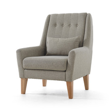 Upholstery Furniture Legs Wood Finish Linen Cotton Fabric Sofa Armchair Design Living Room Modern Relax Accent Arm Chair Design