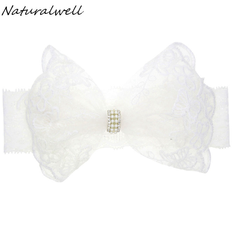 Naturalwell Baby Bandage Bow Hairband For Christening Flower Girl White Hair Band Newborns Lace Headband With Pearls HB204S