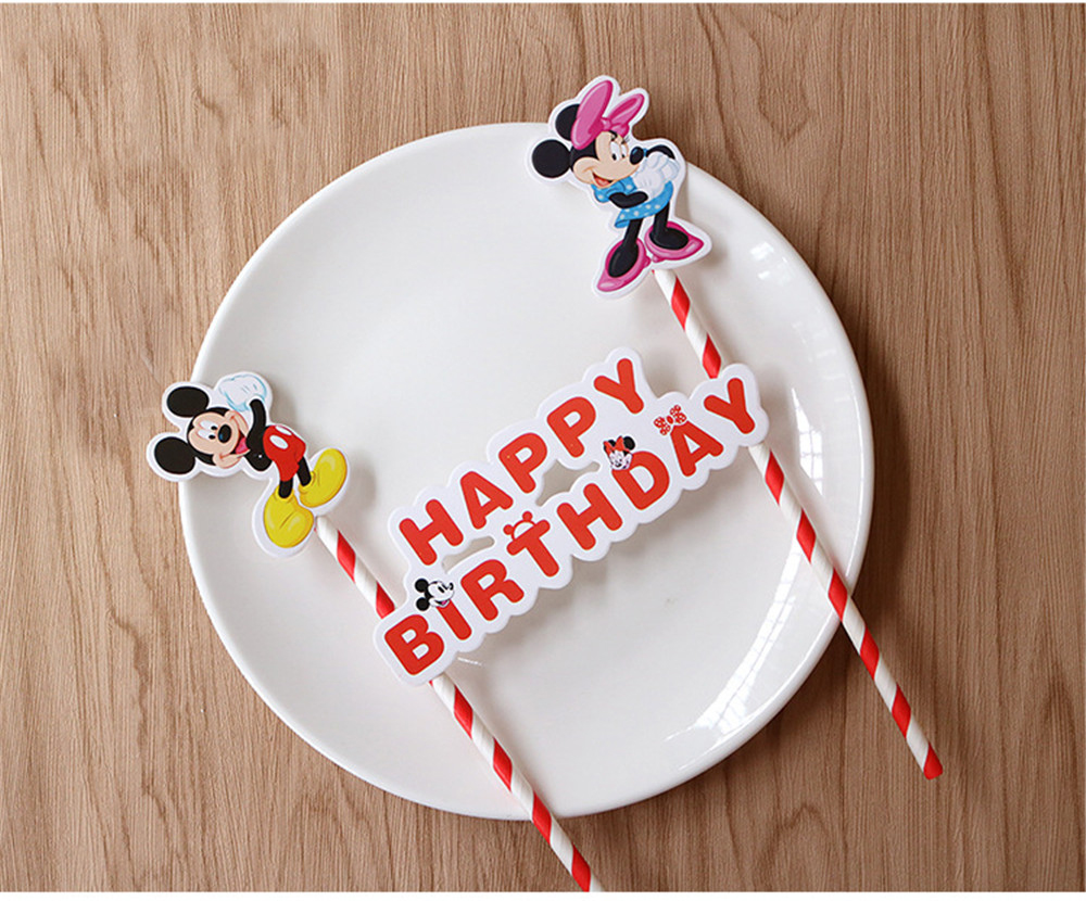 Sensational 1Set Mickey Minnie Mouse Happy Birthday Cupcake Topper Flags Cake Funny Birthday Cards Online Eattedamsfinfo