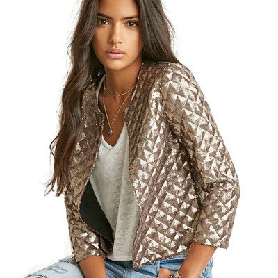 2018 Spring/Autumn New Style Vogue Lozenge Women Gold Sequins Jackets Three quater sleeve Fashion Coats Outwears