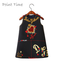 Dress Girl Baby England Style Dress Clothes Children Black Sleeveless Kids Dresses For Girls Princess Dress Robe Fille