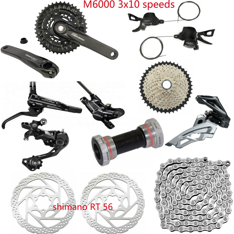 Shimano DEORE M6000 9 PCS 3X10 2x10 Speed Groupset HG500 10 11 42T M6000 Rear Derailleur Shift Lever Crankset Brake Rotors