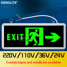 DENOLITE Maintained Hanging Wall Mounted Led Fire Emergency Light Single/Double Side With Human+Arrow Led Exit Sign Lights(China)