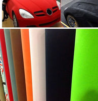 1.35x10m black color Suede Cloth Fabric Vehicle Wrapping Velour Vinyl Wrap Film Sticker for 9 Colors