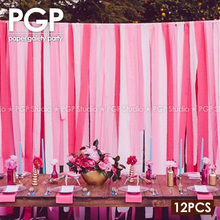 PGP Pink Crepe Paper Streamers, for Wedding Kids Girls Princess Birthday Bridal Showers Party Decoration Backdrop
