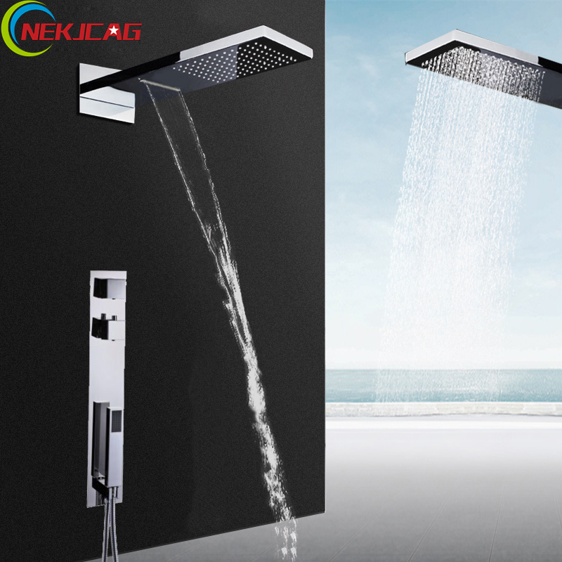 Bathroom Shower Set Chrome Thermostatic Rain Waterfall Shower Faucet Dual Handle Wheel with Handheld Shower luxury high quality bathroom chrome rain shower set thermostatic shower faucet bath