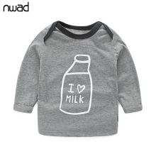 Milk Bottle Print  baby boy clothes 3PCS/Set Newborn Baby Girls Clothes Set 2017 Fashion Long Sleeve T Shirt +Pant + Hat FF034