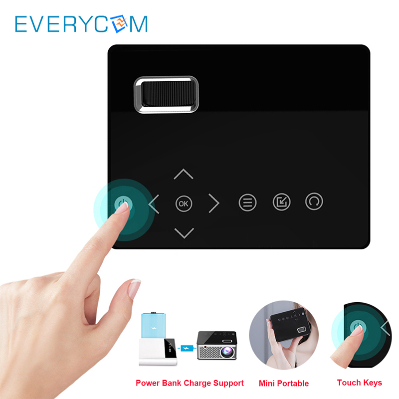 Projecteur de poche Mini Smart T200 touches tactiles HDMI USB projecteur de jeu vidéo AV projecteur de LED pour Camping voyage Home Cinema