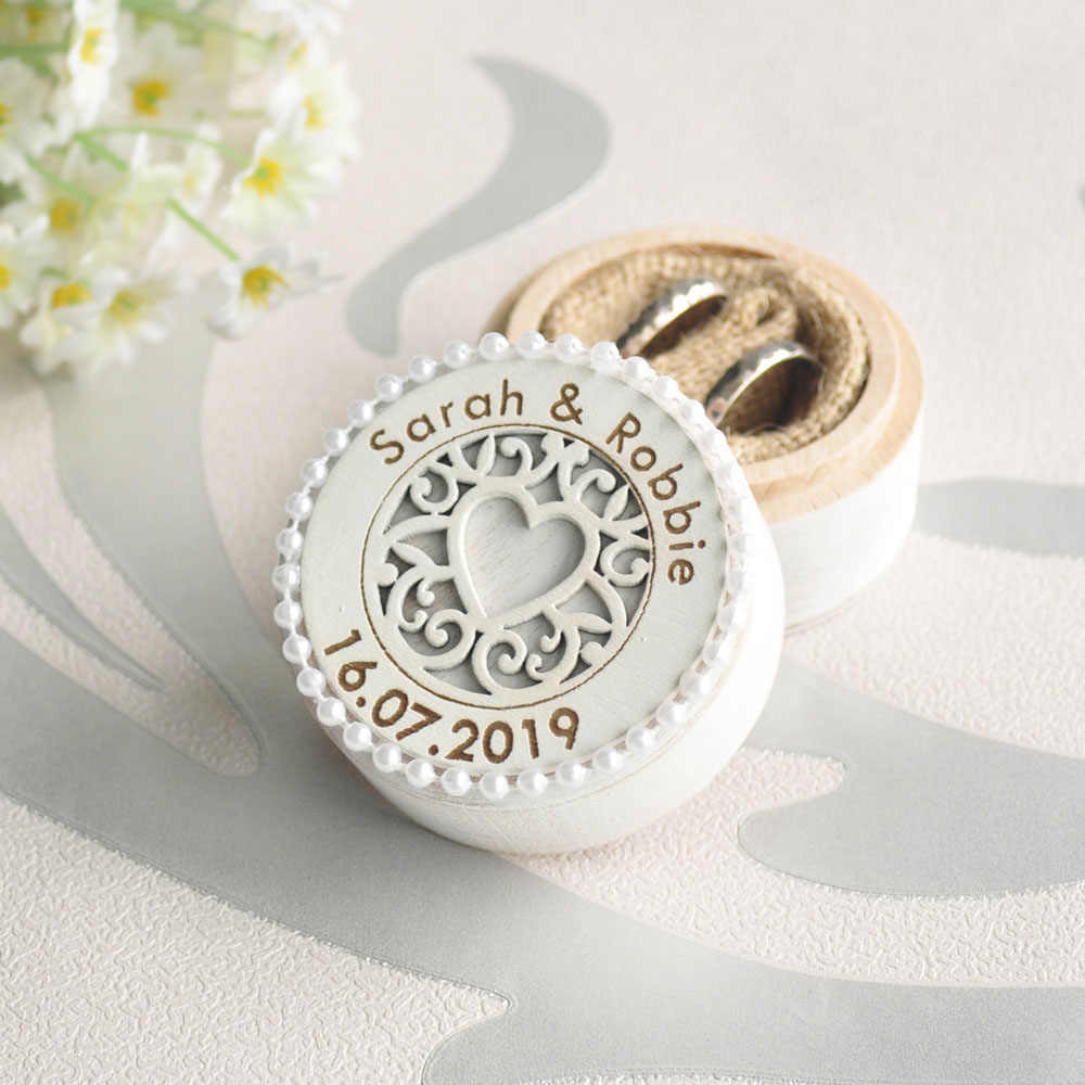 New Design Ring Box Personalized Rustic Wedding Wood Ring Holder Wedding Ring Bearer Box