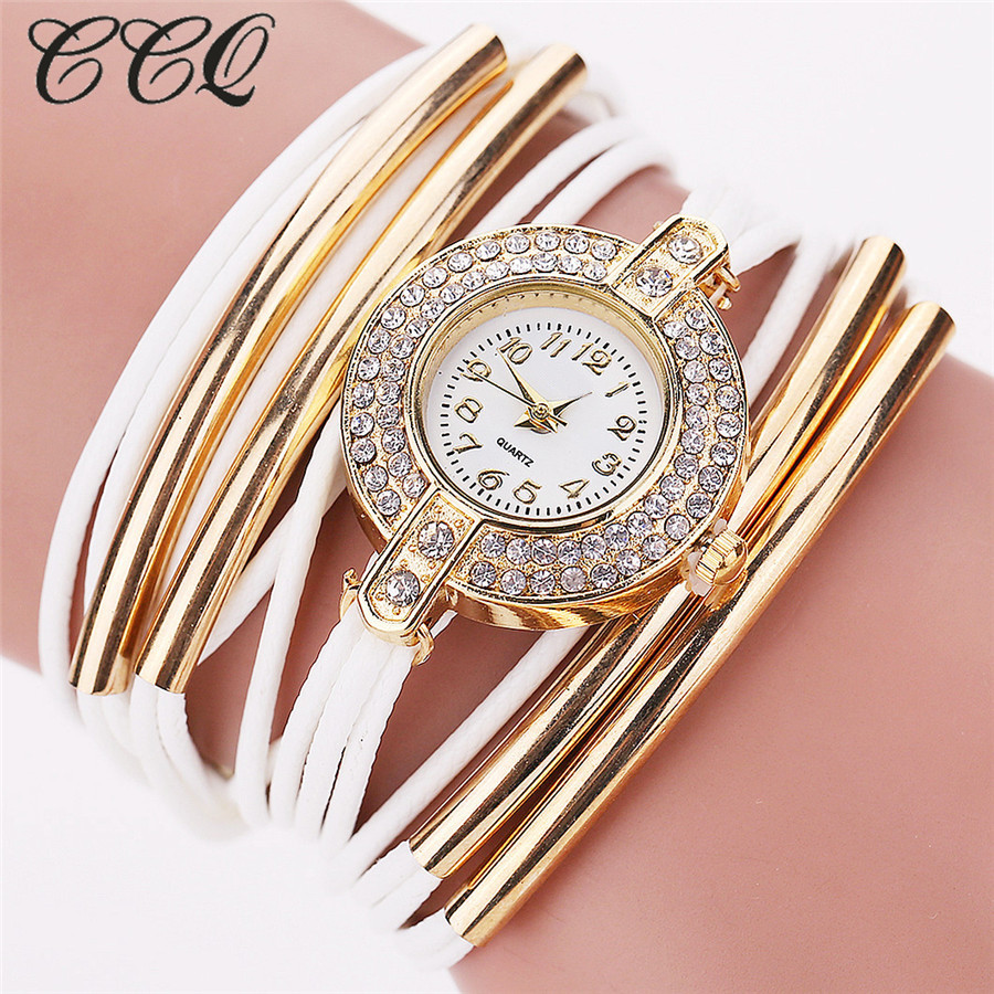 New CCQ Fashion Brand Quartz Watch Women Dress Leather Wristwatches Popular Casual Watches Gold Jewelry Bracelet Clock C52 new lvpai vintage women fashion quartz watch faux leather men dress watch unisex casual wristwatches wood grain watches clock
