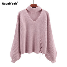 UsualYeah Lace Up Autumn Winter Women Jumper Pullover Cut Out V Neck Lantern Sleeve