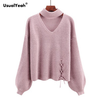 UsualYeah Fashion Lace Up Autumn Winter Women Sweater Jumper Pullover Cut Out V Neck Lantern Sleeve Chunky Choker Sweaters