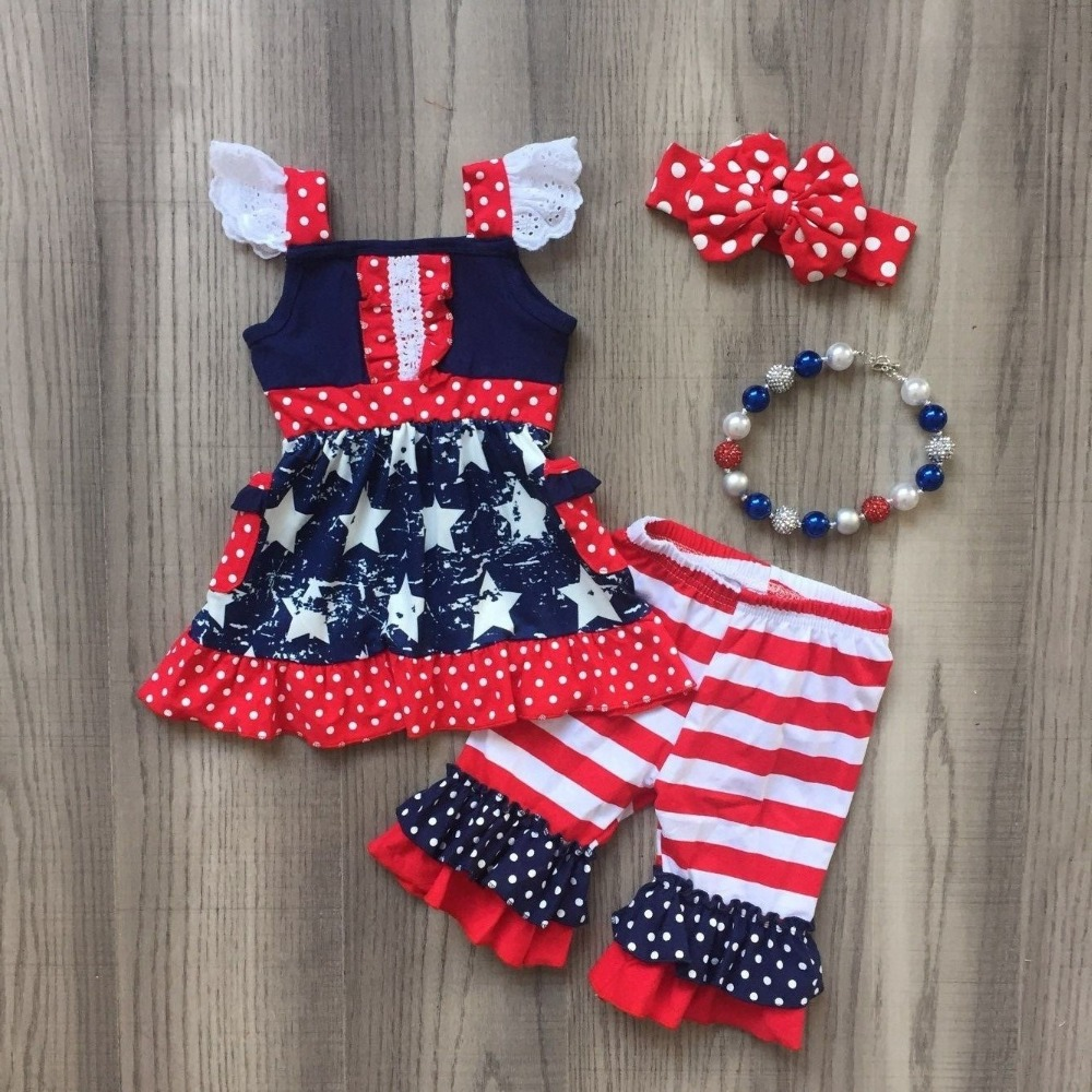 New Arrivals Baby Girls Summer Outfits 4th Of July Independence Day Outfits Bany Girls Romper Summer Clothes With Accessories