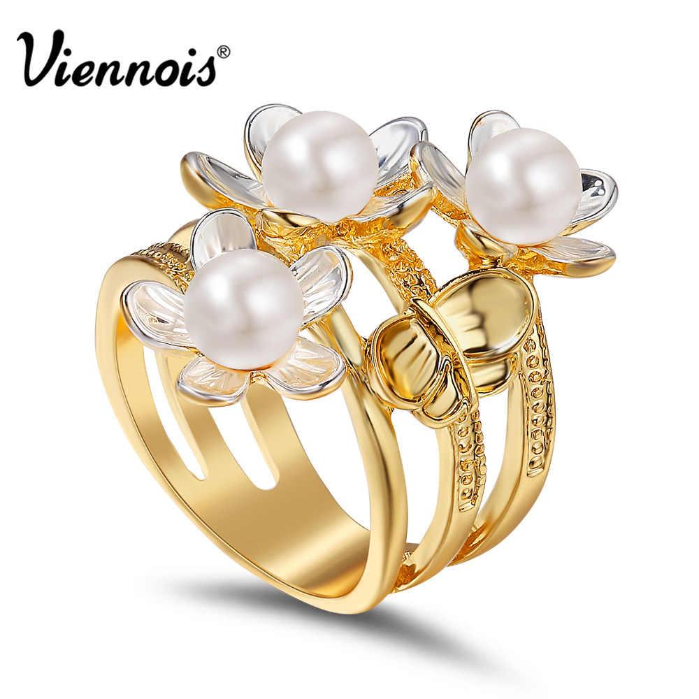 c5f763454a42 Viennois новый золото и серебро цвет трехместный цветы бабочки широкие  кольца для женщин девушки имитация перл