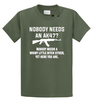 T Shirt Store Online Printed O-Neck Short Sleeve Nobody Needs An Ak47 Tee For Men